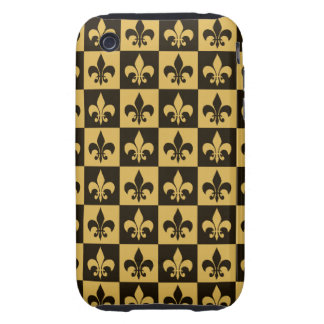 Negro y flor de lis del oro iPhone 3 tough cárcasas