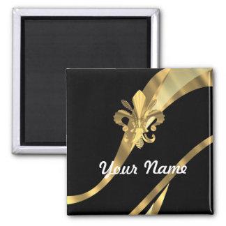 Negro y flor de lis del oro imán cuadrado
