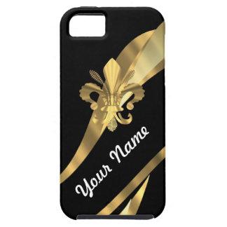 Negro y flor de lis del oro iPhone 5 carcasas