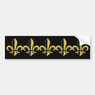 Negro y flor de lis del oro pegatina para auto