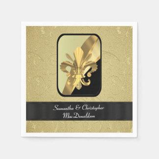 Negro y flor de lis del oro personalizada servilleta de papel