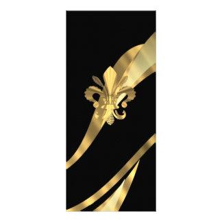 Negro y flor de lis del oro plantilla de lona
