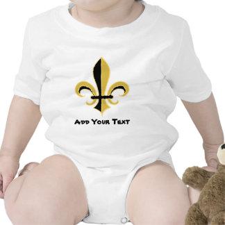 Negro y flor de lis del oro traje de bebé