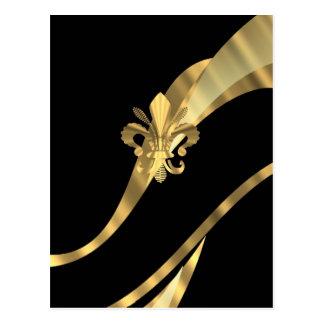 Negro y flor de lis del oro postales