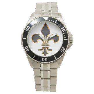Negro y flor de lis del oro relojes de mano