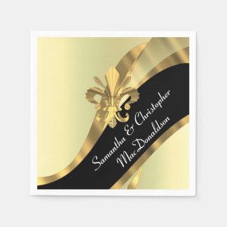 Negro y flor de lis del oro servilleta de papel