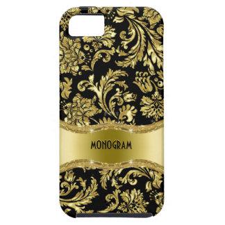 Negro y floral metálico del oro Damasco-Modificado iPhone 5 Carcasas