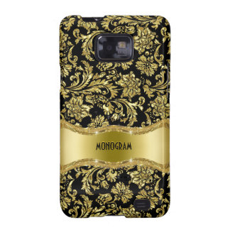 Negro y floral metálico del oro Damasco-Modificado Galaxy S2 Carcasas