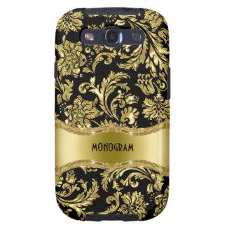 Negro y floral metálico del oro Damasco-Modificado Galaxy S3 Fundas