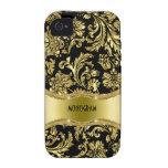 Negro y floral metálico del oro Damasco-Modificado iPhone 4 Carcasa
