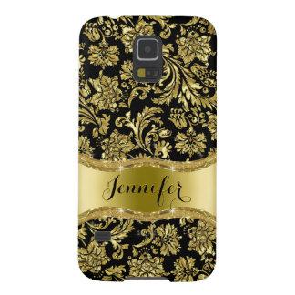 Negro y floral metálico del oro Damasco-Modificado Carcasas Para Galaxy S5