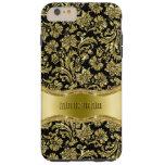 Negro y floral metálico del oro Damasco-Modificado Funda De iPhone 6 Plus Tough