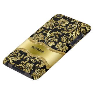 Negro y floral metálico del oro Damasco-Modificado iPod Case-Mate Cárcasas
