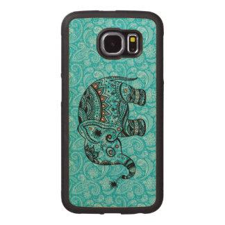 Negro y floral retro azulverde y elefante funda de madera para samsung galaxy s6