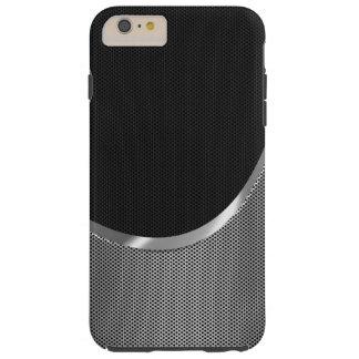 Negro y fondo metálico del modelo del puré de la funda resistente iPhone 6 plus