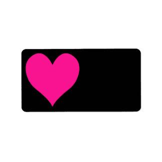 Negro y forma linda de color rosa oscuro del etiquetas de dirección