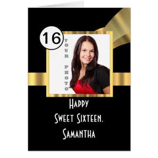 Negro y foto del dulce dieciséis del oro tarjeta de felicitación