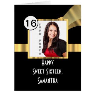 Negro y foto del dulce dieciséis del oro tarjeta de felicitación grande
