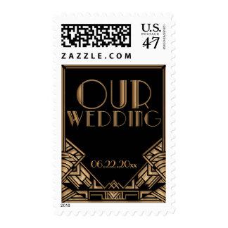 Negro y franqueo del boda del tema del art déco sellos