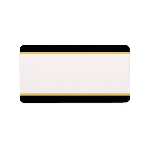 Negro y frontera del oro etiquetas de dirección