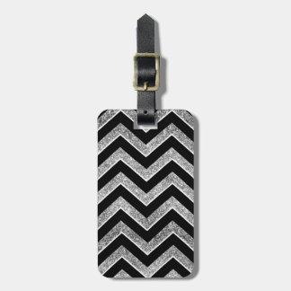 Negro y galón reluciente de la plata etiquetas de equipaje