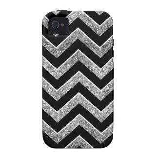Negro y galón reluciente de la plata vibe iPhone 4 carcasas