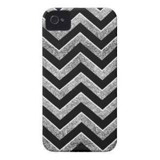Negro y galón reluciente de la plata Case-Mate iPhone 4 cárcasas