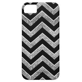 Negro y galón reluciente de la plata iPhone 5 carcasas