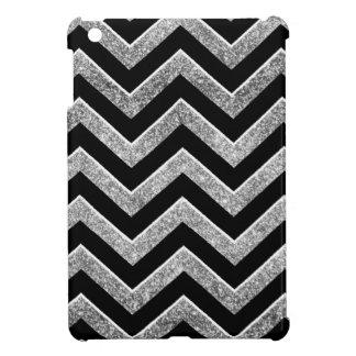 Negro y galón reluciente de la plata iPad mini funda