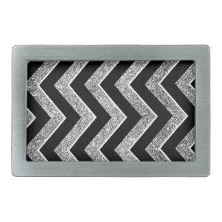 Negro y galón reluciente de la plata hebillas de cinturón rectangulares