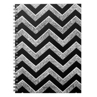 Negro y galón reluciente de la plata libros de apuntes con espiral
