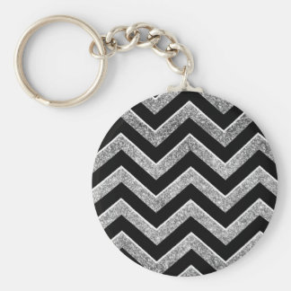Negro y galón reluciente de la plata llavero personalizado