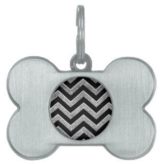 Negro y galón reluciente de la plata placa de nombre de mascota