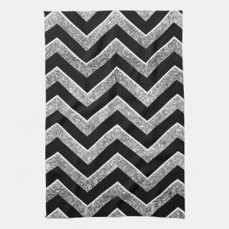 Negro y galón reluciente de la plata toallas de mano