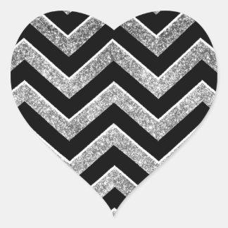 Negro y galón reluciente de la plata pegatinas corazon