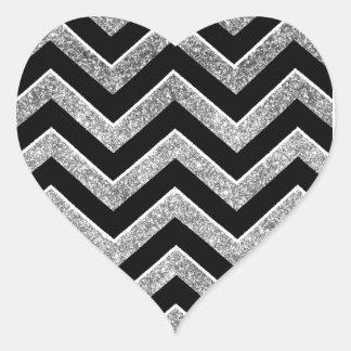 Negro y galón reluciente de la plata pegatina corazón