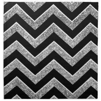 Negro y galón reluciente de la plata servilleta de papel