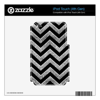 Negro y galón reluciente de la plata iPod touch 4G skin