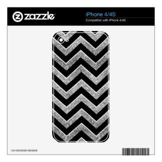 Negro y galón reluciente de la plata skins para eliPhone 4S