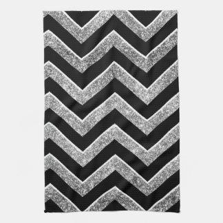Negro y galón reluciente de la plata toallas de cocina