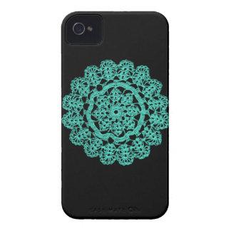 Negro y ganchillo de la turquesa Case-Mate iPhone 4 carcasa