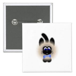 Negro y gato de Brown con el lazo azul claro Pins