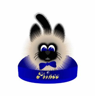 Negro y gato de Brown con el lazo azul marino en u Adorno Fotoescultura