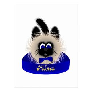 Negro y gato de Brown con el lazo azul marino en u Tarjetas Postales