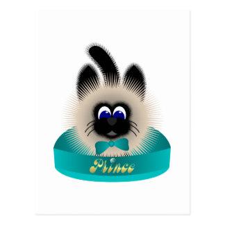 Negro y gato de Brown con el lazo del trullo en un Tarjeta Postal
