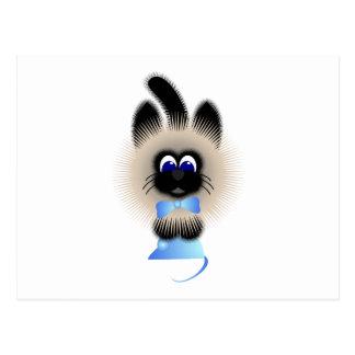Negro y gato de Brown con el lazo en colores paste Postal