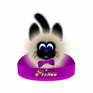 Negro y gato de Brown con el lazo púrpura oscuro e Esculturas Fotograficas