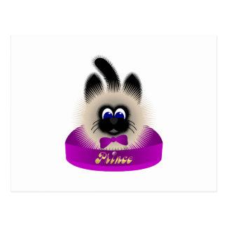 Negro y gato de Brown con el lazo púrpura oscuro e Postales