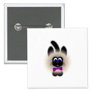 Negro y gato de Brown con el lazo púrpura oscuro Pins