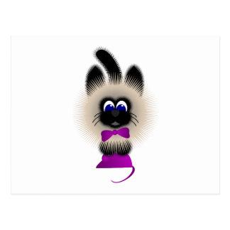 Negro y gato de Brown con el lazo púrpura oscuro y Tarjeta Postal